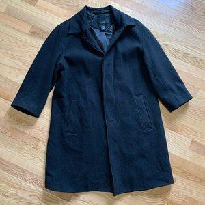 Cezani Charcoal Wool Long Peacoat